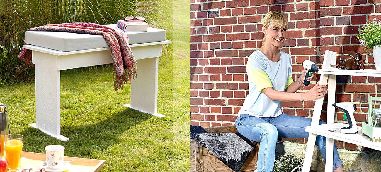 DIY Garten und Balkon – Regale und Sitzbänke selbst herstellen