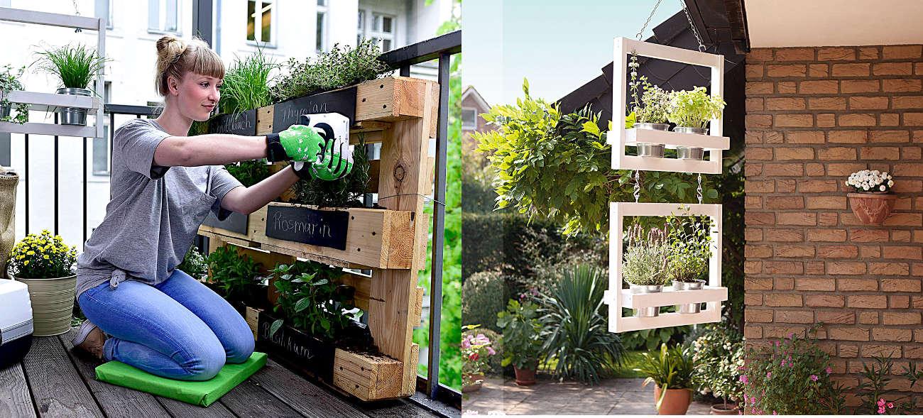 DIY Garten und Balkon: Kräuterregal und Blumengondeln selbst herstellen und nach belieben farbig gestalten