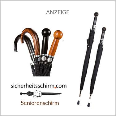 Der Sicherheitsschirm ist durch seine extreme Härte auch für Senioren als Gehstock geeignet.