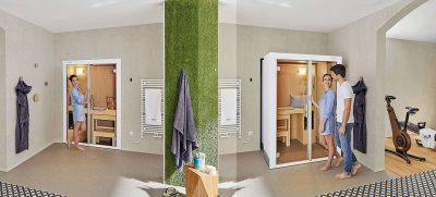 Eine ausziehbare Sauna ermöglicht auch auf engem Wohnraum eine gesundheitsfördernde Wohlfühloase in den eigenen vier Wänden. Foto: Dank des innovativen Zoom-Prinzips ist eine Sauna sogar im Schlafzimmer möglich. Foto: HLC/KLAFS GmbH & Co. KG