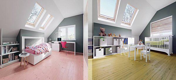 Ein Traum in Rosa (links) und Farngrün (rechts): Farbige Holzböden setzen gekonnt Akzente, nehmen sich jedoch gleichzeitig zurück.