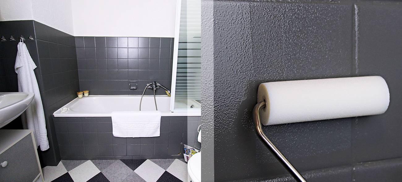 "Sieht aus wie komplett renoviert, ist aber ""nur"" gestrichen: Mit speziellen Farben ehalten die Fliesen im Bad einen eleganten Look."