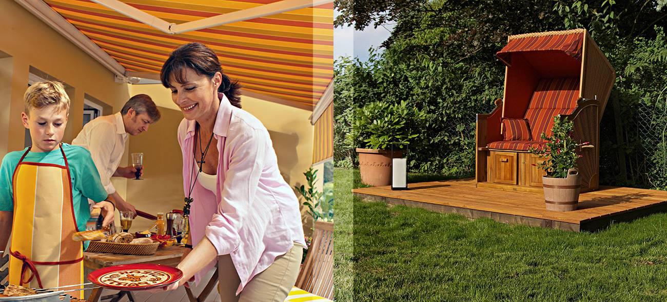 Mit einem guten Sonnenschutz versehen, kann man die Terrasse auch an heißen Tagen ohne Sonnenbrandgefahr nutzen.