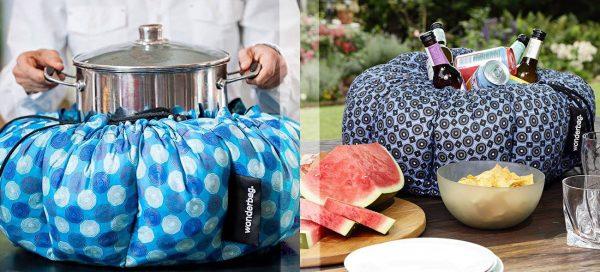 Pfiffige Kühl- und Warmhaltetasche: Speisen und Getränke bleiben in dem gut isolierten Stoffsack lange kalt oder warm.