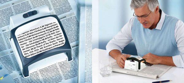 Leselupe für Senioren: Ergonomischer Schrägeinblick ermöglicht eine natürliche Sitzhaltung. Foto: djd / A. Schweizer / Quadratmedia