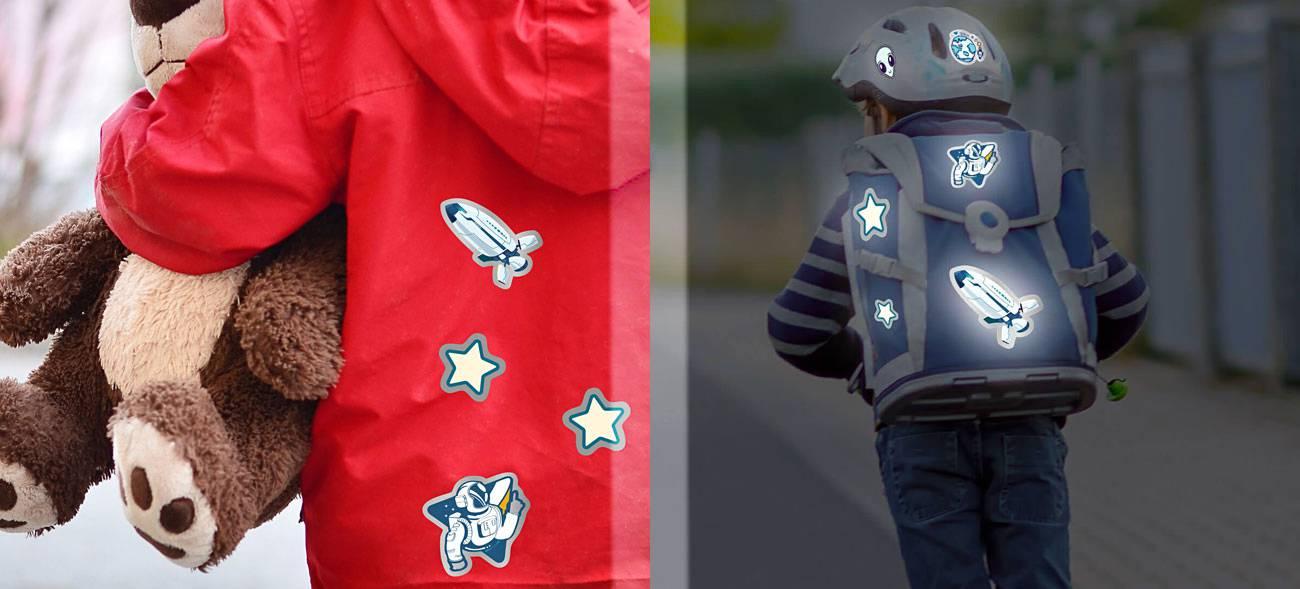 Reflektierende Kleidung individuell gestalten: Mit Bügelbildern und Aufklebern werden Jacke, Fahrradhelm & Co. zum Eyecatcher.