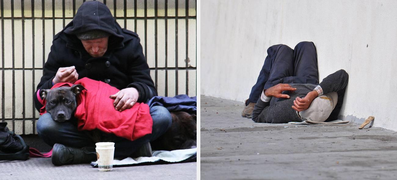 Obdachlose führen ein Leben auf der Straße