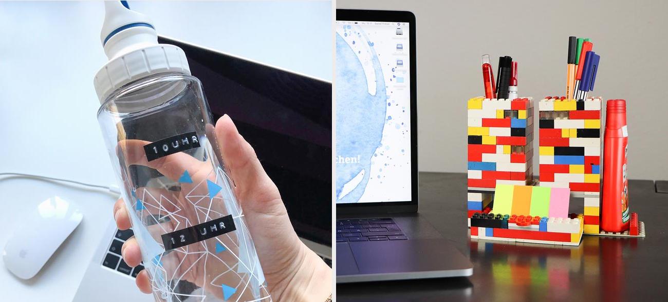 Home-Office mit Lego: Bunte Bausteine als Stiftehalter